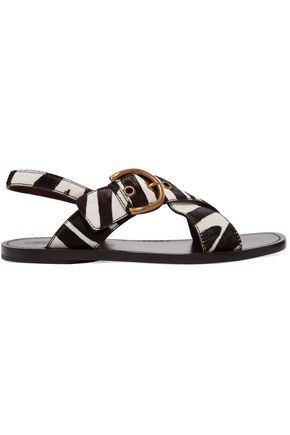 MARC JACOBS Patti buckled zebra-print calf hair sandals
