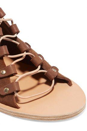 ANCIENT GREEK SANDALS Mache lace-up leather-trimmed suede sandals