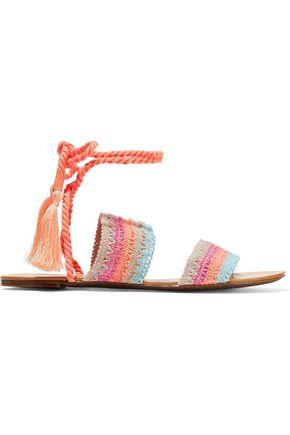 SCHUTZ Zendy tasseled crochet-knit leather sandals