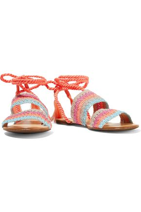 SCHUTZ Zendy tasseled crochet-knit leather sandals