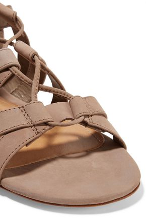 SCHUTZ Berlina cutout lace-up nubuck sandals