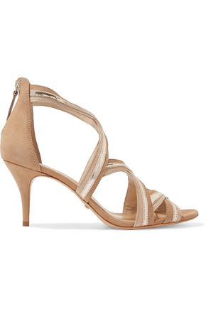 SCHUTZ Suede and metallic leather sandals