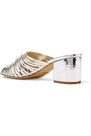 SCHUTZ Cecilia cutout mirrored-leather mules