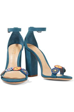 SCHUTZ Luciola embroidered suede sandals