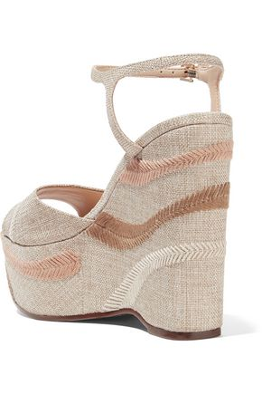 SCHUTZ Theon embroidered woven wedge sandals
