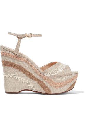 b7d7c93cc50 Schutz Woman Theon Embroidered Woven Wedge Sandals Ecru ...