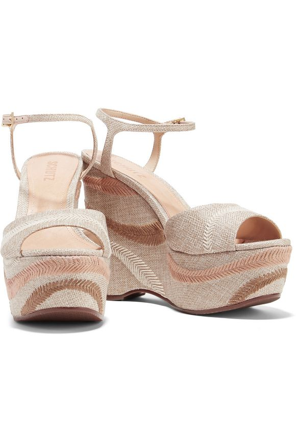 Theon embroidered woven wedge sandals | SCHUTZ | Sale up to 70% off | THE  OUTNET
