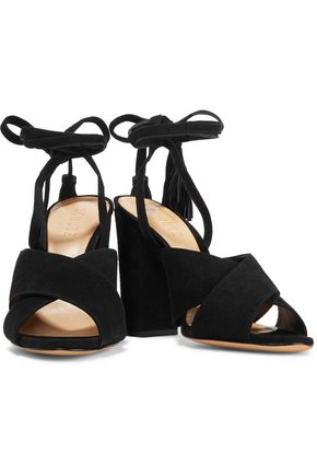 SCHUTZ Damila lace-up tasseled suede sandals