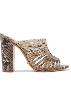 SCHUTZ Veronika cutout snake-effect leather mules