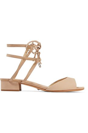 SCHUTZ Daniella lace-up cutout nubuck sandals