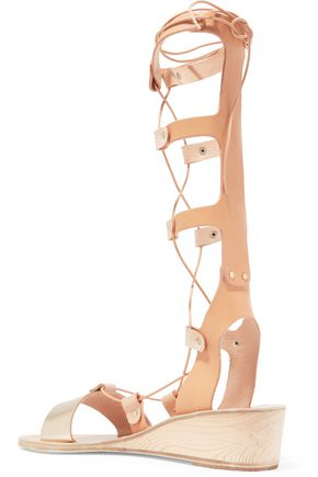 ANCIENT GREEK SANDALS Thebes metallic and smooth leather lace-up wedge sandals