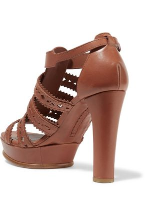 TOD'S Laser-cut leather platform sandals