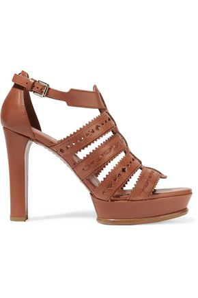 Laser Cut Leather Platform Sandals by Tod's