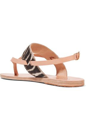 ANCIENT GREEK SANDALS Zoe smooth and zebra-print pony hair-effect leather sandals