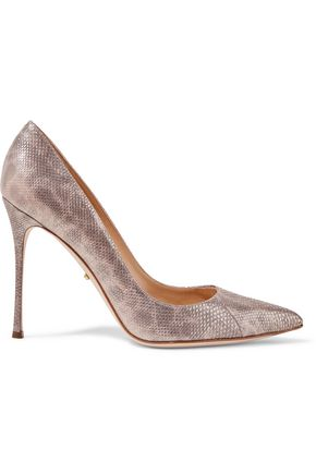 SERGIO ROSSI Metallic snake-effect leather pumps
