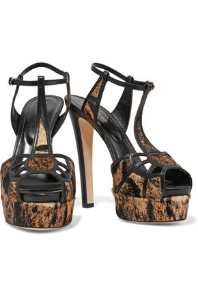 SERGIO ROSSI Leather-trimmed calf hair sandals