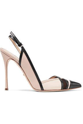 SERGIO ROSSI Two-tone mesh-trimmed leather pumps