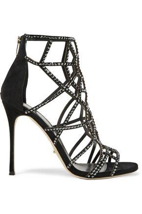 SERGIO ROSSI Royal crystal-embellished laser-cut suede sandals