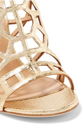 SERGIO ROSSI Metallic laser-cut leather sandals