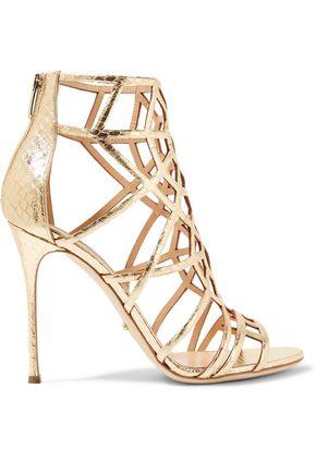 SERGIO ROSSI Metallic laser-cut leather sandals