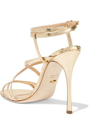 SERGIO ROSSI Metallic snake-effect leather sandals