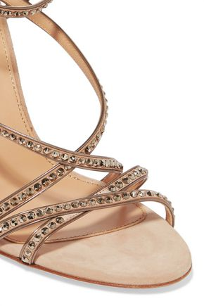 SERGIO ROSSI Crystal-embellished suede sandals