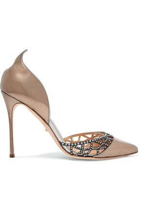 SERGIO ROSSI Metallic crystal-embellished cutout leather pumps