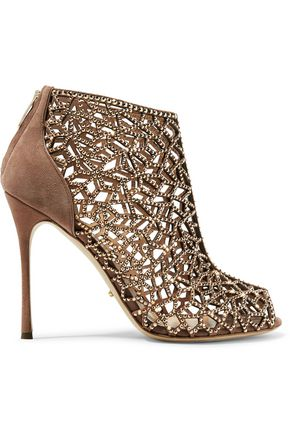 SERGIO ROSSI Royal Strass crystal-embellished laser-cut and smooth suede ankle boots