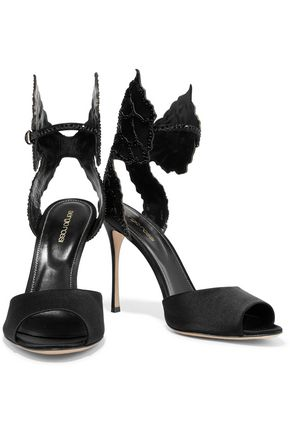 SERGIO ROSSI Crystal-embellished satin sandals