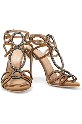 SERGIO ROSSI Crystal-embellished cutout suede sandals