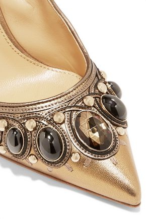 SERGIO ROSSI Embellished metallic leather pumps