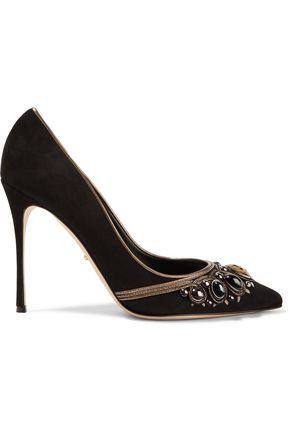 6aa3a00b27e7 SERGIO ROSSI Royal metallic leather-trimmed embellished suede pumps