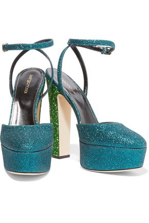 SERGIO ROSSI Glittered leather platform pumps