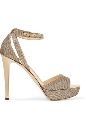 JIMMY CHOO Kayden glittered leather sandals