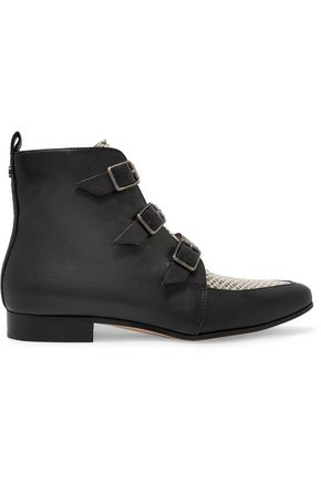 JIMMY CHOO Marlin paneled leather ankle boots