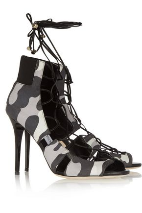 JIMMY CHOO Myrtle camouflage-print nubuck sandals