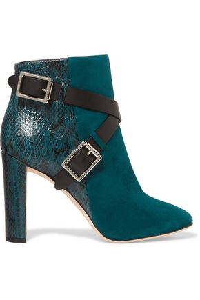 JIMMY CHOO Dee buckled elaphe-paneled suede ankle boots