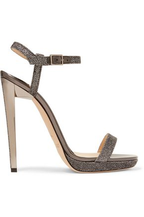 JIMMY CHOO Claudette glittered textured-leather sandals