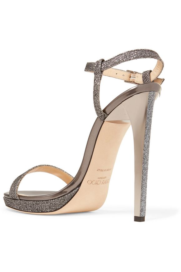 Claudette glittered textured-leather sandals | JIMMY CHOO | Sale up to 70%  off | THE OUTNET
