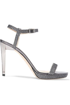 JIMMY CHOO Claudette glittered leather sandals