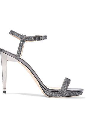 JIMMY CHOO Claudette glittered leather sandals
