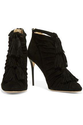 JIMMY CHOO LONDON Myra tasseled suede ankle boots