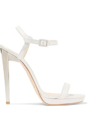 JIMMY CHOO Claudette embellished leather sandals