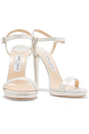 JIMMY CHOO Claudette embellished leather sandals