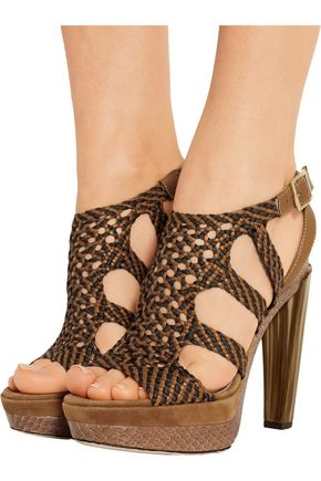 JIMMY CHOO LONDON Woven leather, suede and elaphe sandals