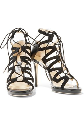 JIMMY CHOO LONDON Dani lace-up leather, suede and acrylic sandals