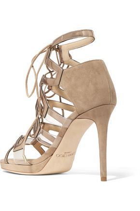 JIMMY CHOO Dani lace-up suede and patent-leather sandals