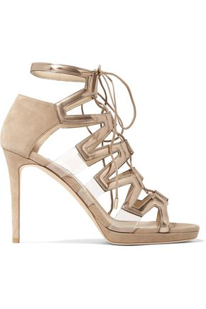 2a23d531985 Dani lace-up suede and patent-leather sandals | JIMMY CHOO | Sale up ...