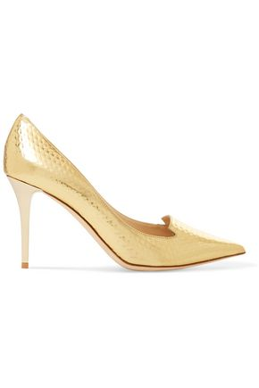 JIMMY CHOO Alia embossed mirrored-leather pumps