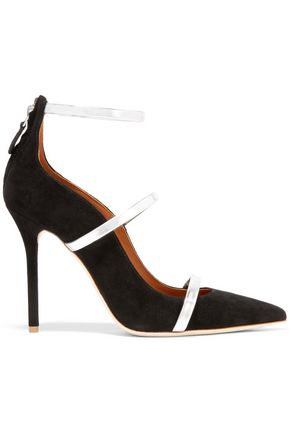 MALONE SOULIERS Metallic leather-trimmed suede pumps